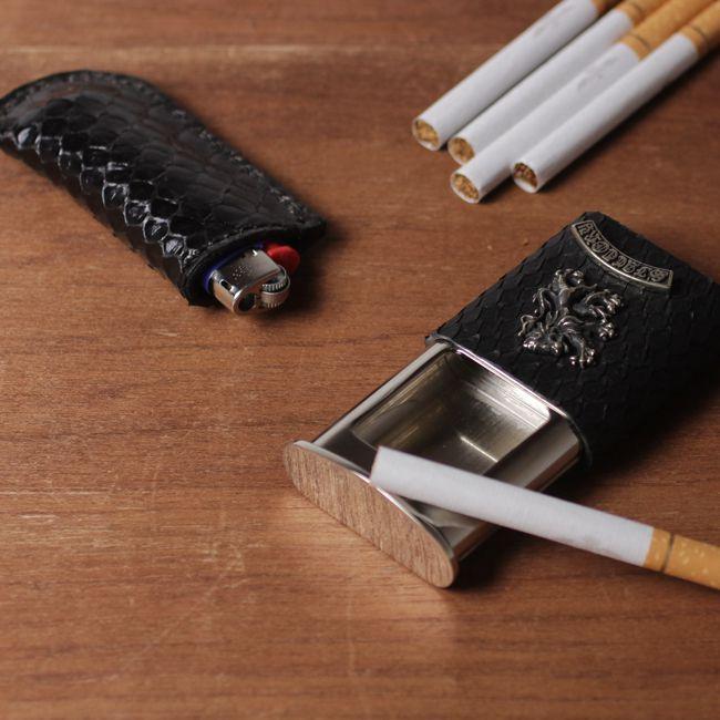 喫煙具,ヘビ革,パイソン,レザー,エキゾチック,革製品,メンズ