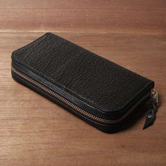 シンプル,ファスナー,ウォレット,財布,サメ革,シャーク,スキン,レザー,エキゾチック,革製品,メンズ