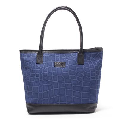 丸手トートバッグ,帆布,クロコダイル柄,ブルー,メンズ,男女兼用