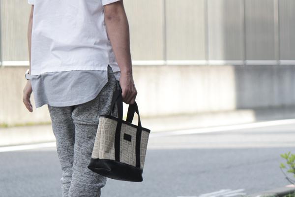 ミニトートバッグ,帆布,クロコダイル柄,アイボリー,メンズ,男女兼用