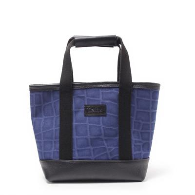 ミニトートバッグ,帆布,クロコダイル柄,ブルー,メンズ,男女兼用