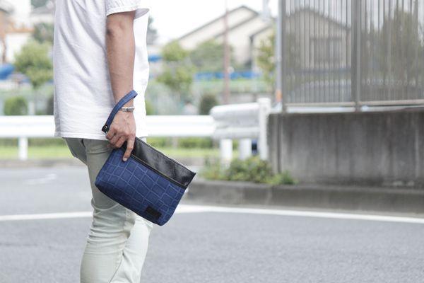 クラッチバッグ,帆布,クロコダイル柄,ブルー,メンズ,男女兼用