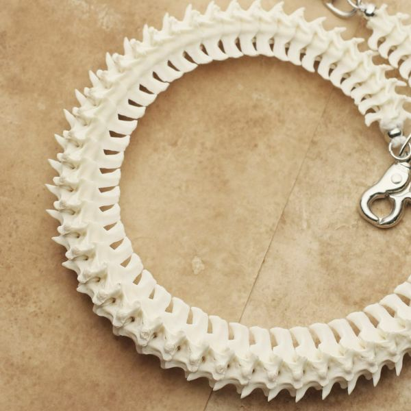 レザーブランドS'FACTORY ボーン ウォレットチェーン No.1 パイソン ホワイト(ヘビの骨)バイカーズ アクセサリー