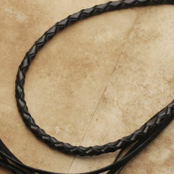 レザーブランドS'FACTORY ウォレットチェーン 4本編み カウレザー ブラック(牛革)バイカーズ アクセサリー