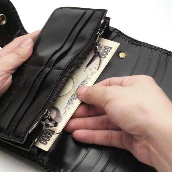レザーブランドS'FACTORY バイカーズウォレット03 ブラックパイソン(ヘビ革) メンズ革財布