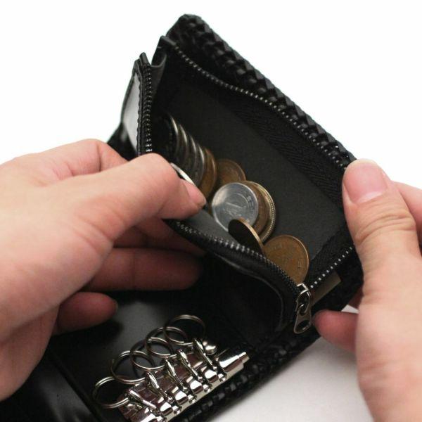 レザーブランドS'FACTORY キーウォレット ブラックパイソン(ヘビ革) メンズ革財布
