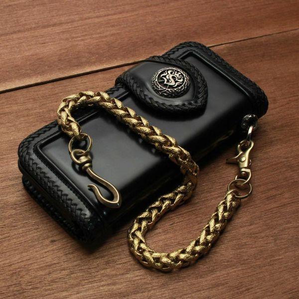 レザーブランドS'FACTORY ウォレット チェーン インフィニティー ゴールド ブラス(真鍮)アクセサリー
