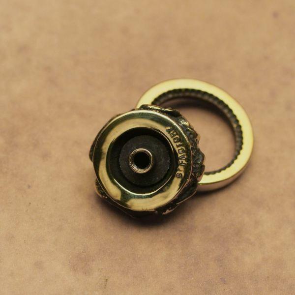 レザーブランドS'FACTORY ドロップハンドル ベイリーフ ブラス(真鍮) バイカーズ ウォレット カスタム パーツ