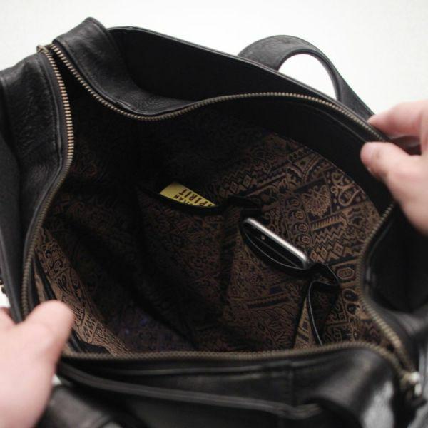 レザーブランドS'FACTORY BURNOUT トートバッグ カウレザー ブラック(牛革)メンズ レザー ボディ バッグ