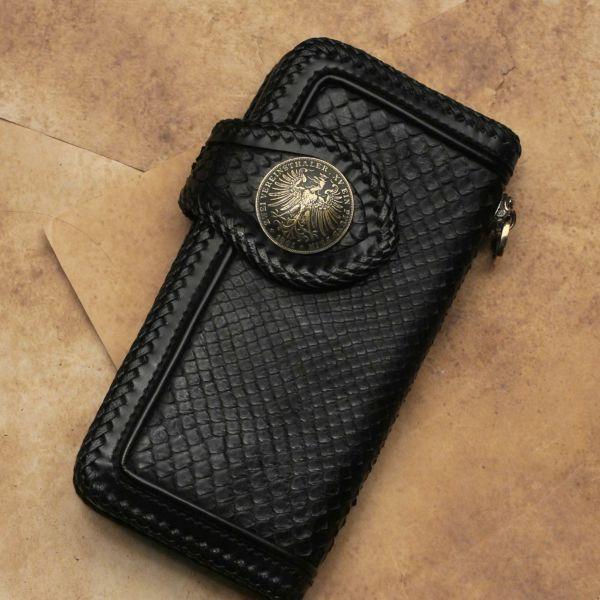 レザーブランドS'FACTORY ジャーマンコイン コンチョ ブラス(真鍮) バイカーズ ウォレット カスタム パーツ