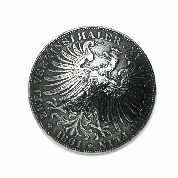 レザーブランドS'FACTORY ジャーマンコイン コンチョ Silver925 バイカーズ ウォレット カスタム パーツ