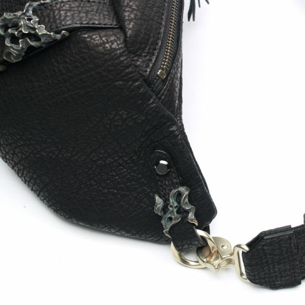 レザーブランドS'FACTORY BURNOUT ボディバッグ シャーク(サメ革)メンズ レザーバッグ