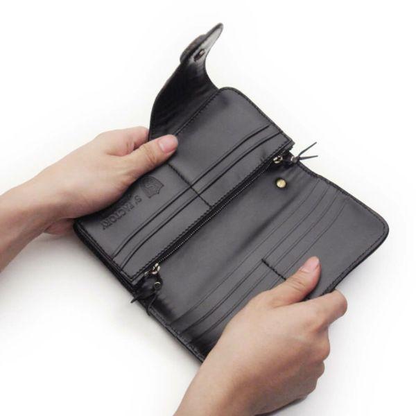 レザーブランドS'FACTORY バイカーズウォレット04 ブラックパイソン(ヘビ革) メンズ革財布