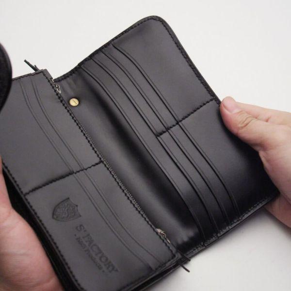 レザーブランドS'FACTORY バイカーズウォレット04 カウレザー ブラック(牛革) メンズ革財布