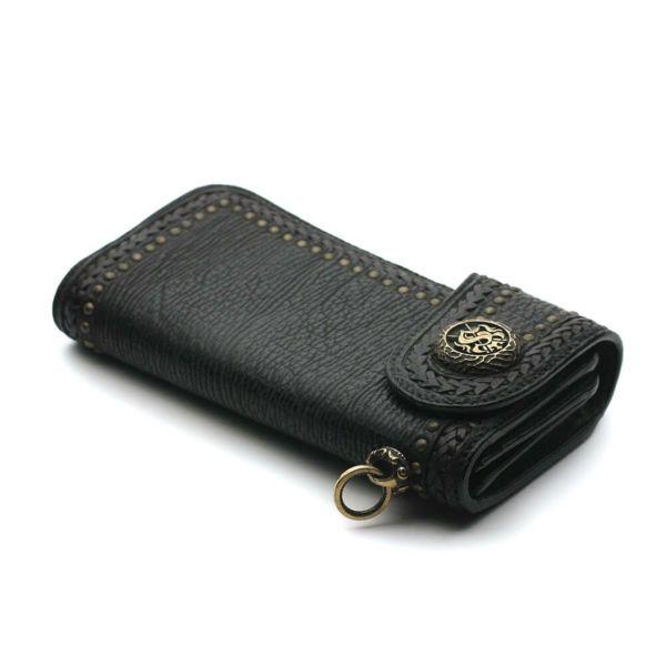 レザーブランドS'FACTORY バイカーズウォレット04 シャーク(サメ革) メンズ革財布