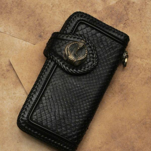 レザーブランドS'FACTORY エンブレムコブラ コンチョ ブラス(真鍮) バイカーズ ウォレット カスタム パーツ