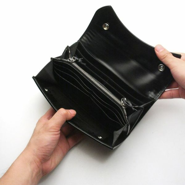 レザーブランドS'FACTORY 2スナップロングウォレット カウレザー ブラック(牛革)革財布