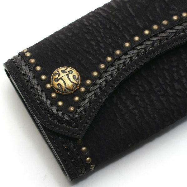 レザーブランドS'FACTORY 2スナップロングウォレット シャーク(サメ革)革財布