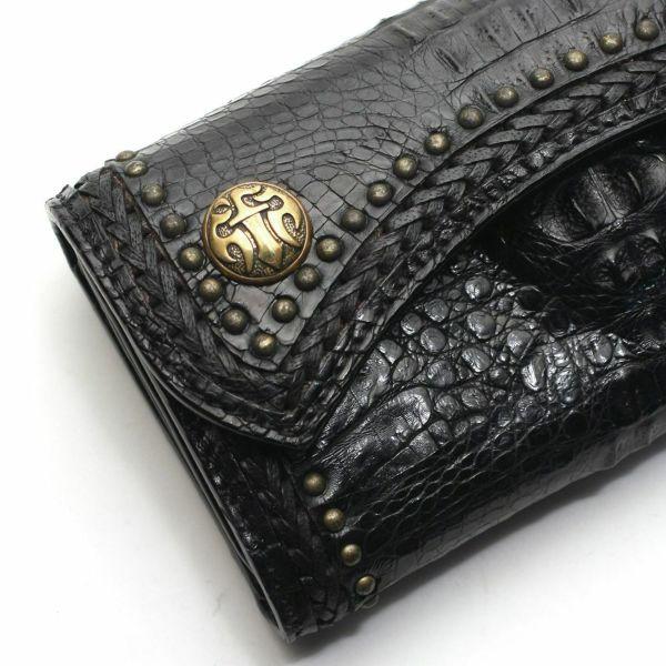 レザーブランドS'FACTORY 2スナップロングウォレット クロコダイル(ワニ革)革財布