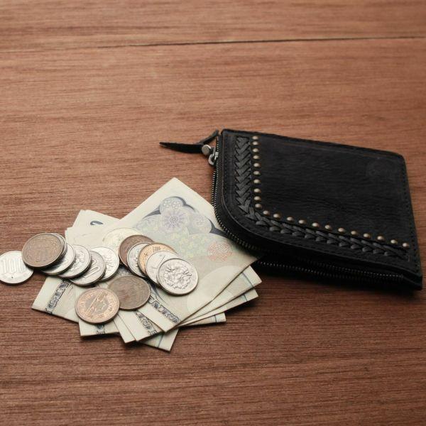 レザーブランドS'FACTORY スタッズL字コインケース シャーク(サメ革)革小物 小銭入れ
