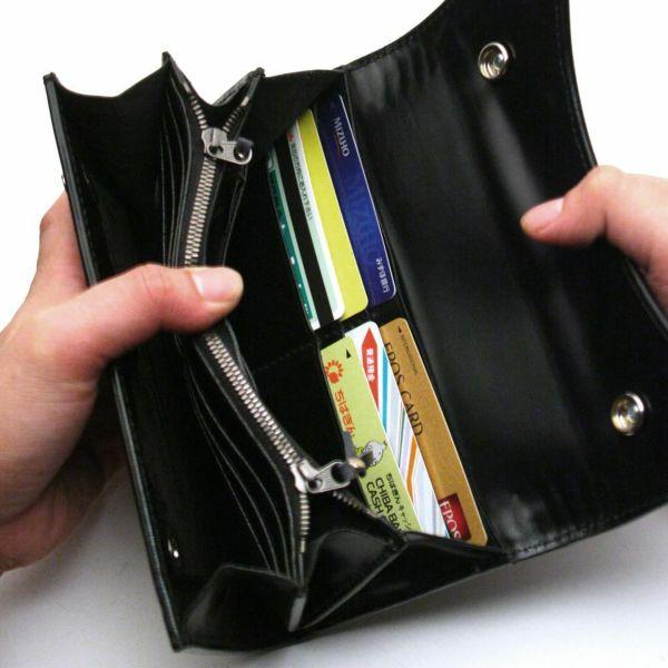 レザーブランドS'FACTORY 2スナップロングウォレット シャーク シルバー(サメ革)革財布