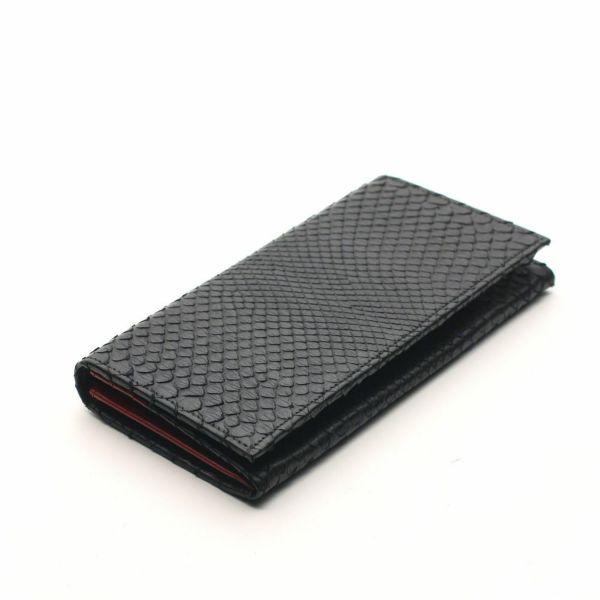 レザーブランドS'FACTORY ロングウォレット ブラックパイソン(ヘビ革)革財布