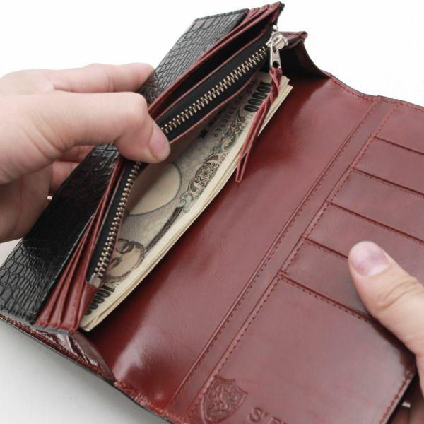 レザーブランドS'FACTORY ロングウォレット クロコダイル(ワニ革)革財布