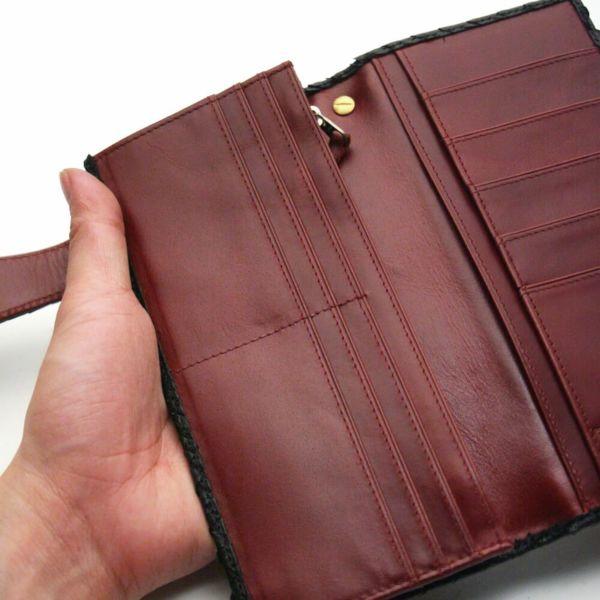 レザーブランドS'FACTORY バイカーズフラップウォレット シャーク(サメ革) メンズ革財布