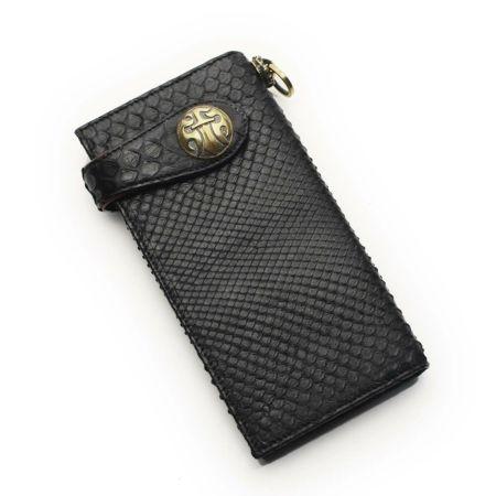 レザーブランドS'FACTORY バイカーズフラップウォレット ブラックパイソン(ヘビ革) メンズ革財布