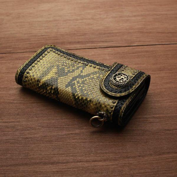 レザーブランドS'FACTORY バイカーズウォレット04 イエローパイソン(ヘビ革) メンズ革財布