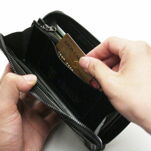 レザーブランドS'FACTORY 内編みファスナーウォレット シャーク(サメ革)メンズ革財布