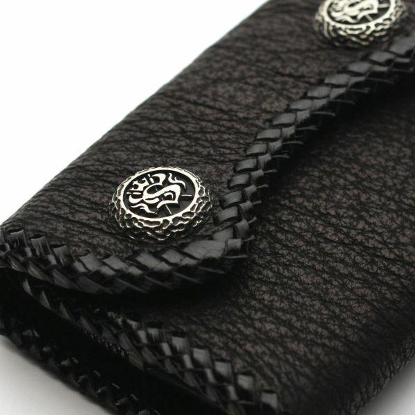 レザーブランドS'FACTORY マイクロウォレット シャーク(サメ革) メンズ革財布