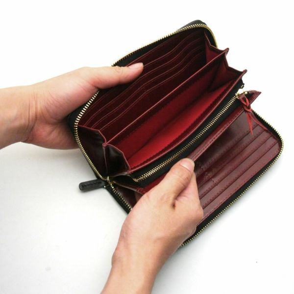 レザーブランドS'FACTORY フリースタイル ファスナーウォレット リアルメッシュ(牛革)メンズ革財布