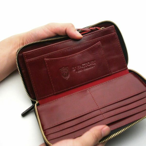 レザーブランドS'FACTORY フリースタイル ファスナーウォレット スティングレー(エイ革)メンズ革財布