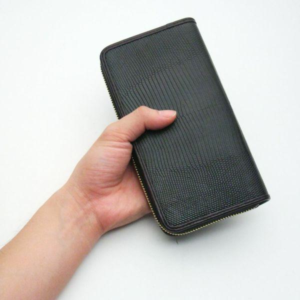 レザーブランドS'FACTORY フリースタイル ファスナーウォレット ブラックパイソン(ヘビ革)メンズ革財布