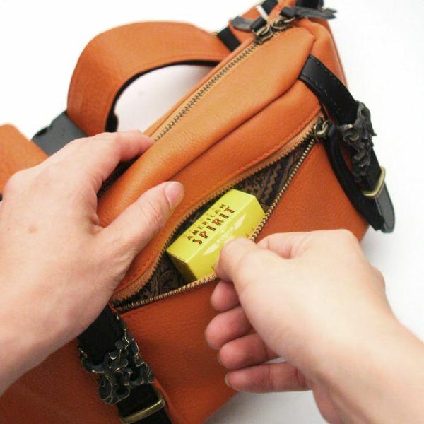 レザーブランドS'FACTORY BURNOUT ボディバッグ カウレザー オレンジ(牛革)メンズ レザーバッグ