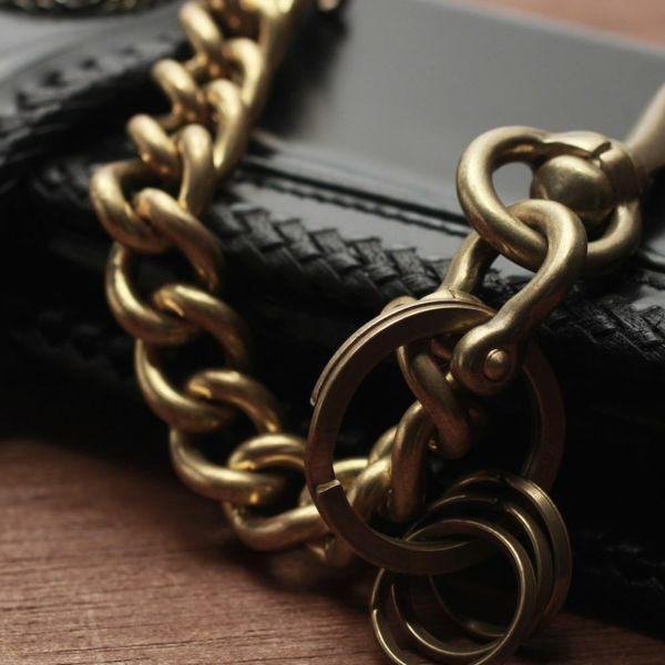 レザーブランドS'FACTORY キーリング ショート ウォレット チェーン スタンダード ゴールド ブラス(真鍮)アクセサリー 短い