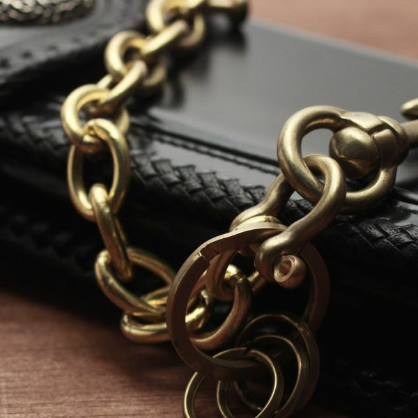 レザーブランドS'FACTORY キーリング ショート ウォレット チェーン リング ゴールド ブラス(真鍮)アクセサリー 短い