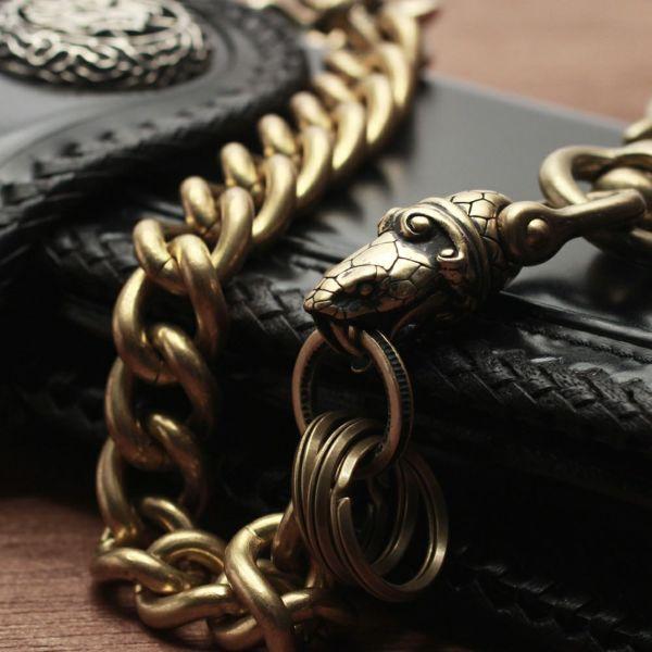 レザーブランドS'FACTORY キーリング ショート ウォレット チェーン コブラ スタンダード ゴールド ブラス(真鍮)アクセサリー 短い