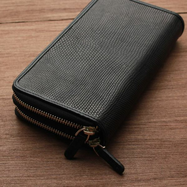 レザーブランドS'FACTORY フリースタイル ダブルジップウォレット リザード(トカゲ革)メンズ革財布