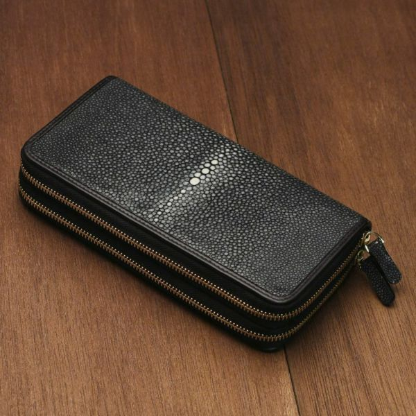 レザーブランドS'FACTORY ダブルジップウォレット スティングレー(エイ革)メンズ革財布