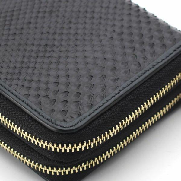 レザーブランドS'FACTORY ダブルジップウォレット ブラックパイソン(ヘビ革)メンズ革財布