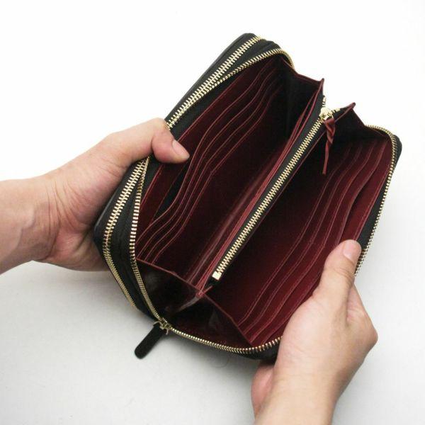 レザーブランドS'FACTORY ダブルジップウォレット クロコダイル(ワニ革)メンズ革財布