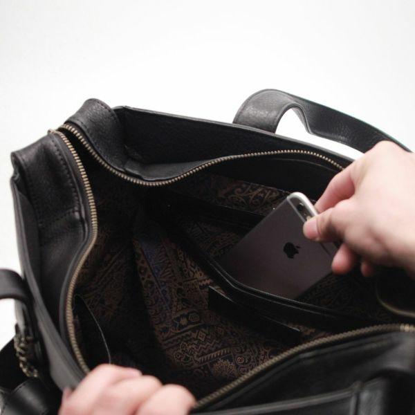 レザーブランドS'FACTORY BURNOUT トートバッグ ブラックパイソン(ヘビ革)メンズ レザー ボディ バッグ