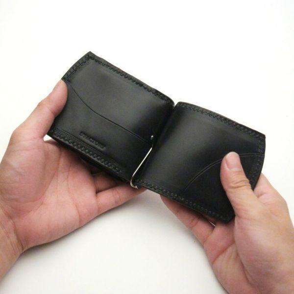 レザーブランドS'FACTORY コインケース付き マネークリップ ブラックパイソン(ヘビ革)革小物