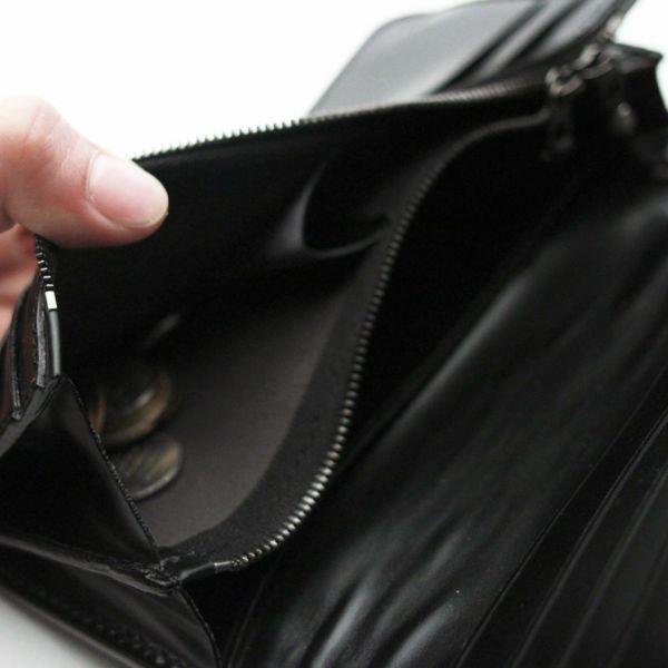 レザーブランドS'FACTORY  内編みロングウォレット カウレザー ブラック(牛革)革財布