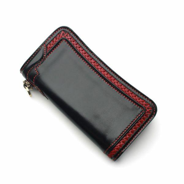 レザーブランドS'FACTORY  内編みロングウォレット カウレザー ブラック&レッド(牛革)革財布