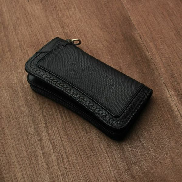レザーブランドS'FACTORY  内編みロングウォレット リザード(トカゲ革)革財布