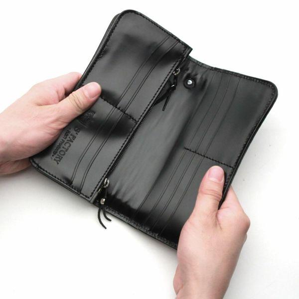レザーブランドS'FACTORY  内編みロングウォレット シャーク(サメ革)革財布