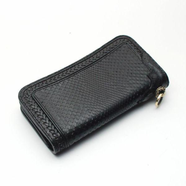 buy online 61cd8 3ebbb 内編みロングウォレット ブラックパイソン(ヘビ革)